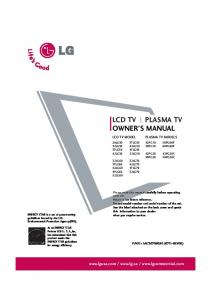 LCD TV PLASMA TV OWNER S MANUAL