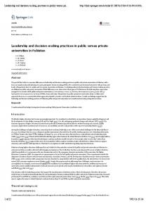 Leadership and decision-making practices in public versus private universities in Pakistan