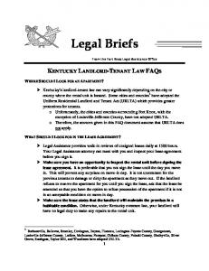 Legal Briefs KENTUCKY LANDLORD-TENANT LAW FAQS WHERE SHOULD I LOOK FOR AN APARTMENT?