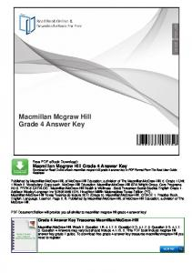 Macmillan Mcgraw Hill Grade 4 Answer Key