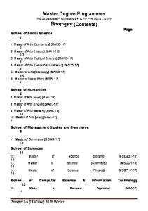 Master Degree Programmes PROGRAMME SUMMARY & FEE STRUCTURE