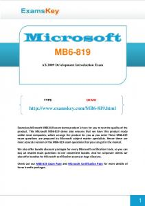 MB AX 2009 Development Introduction Exam