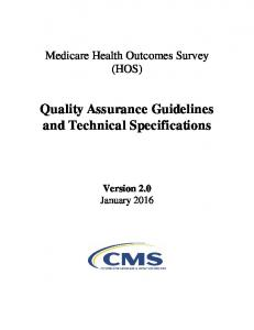 Medicare Health Outcomes Survey (HOS) Quality Assurance Guidelines and Technical Specifications