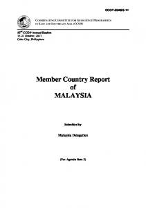 Member Country Report of MALAYSIA