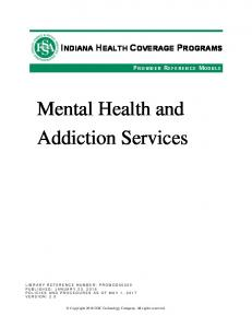Mental Health and Addiction Services