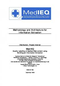 Methodology and Architecture for Information Extraction