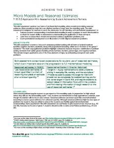 Micro Models and Reasoned Estimates 7. EE.B.3 Application Mini-Assessment by Student Achievement Partners