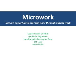 Microwork Income opportunities for the poor through virtual work