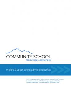 middle & upper school admissions packet