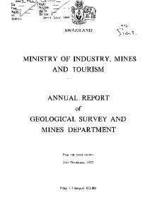 MINISTRY OF INDUSTRY, MINES AND TOURISM. ANNUAL REPORT of GEOLOGICAL SURVEY AND MINES DEPARTMENT