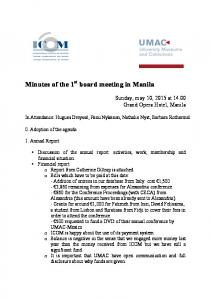 Minutes of the 1 st board meeting in Manila