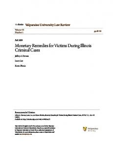 Monetary Remedies for Victims During Illinois Criminal Cases