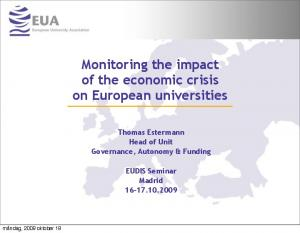 Monitoring the impact of the economic crisis on European universities