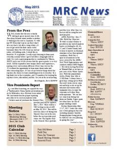 MRC News. Well, it looks like the area is finally. At our March meeting, we enjoyed the very. May From the Prez