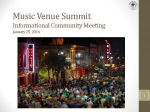 Music Venue Summit Informational Community Meeting January 25, 2016