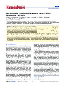 Mussel-Inspired Histidine-Based Transient Network Metal Coordination Hydrogels