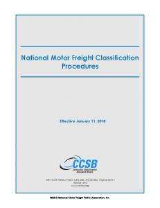 National Motor Freight Classification Procedures