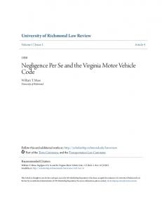Negligence Per Se and the Virginia Motor Vehicle Code