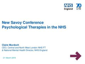 New Savoy Conference Psychological Therapies in the NHS