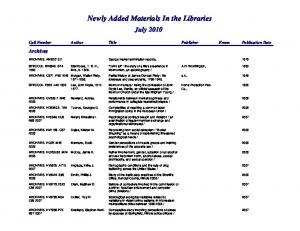Newly Added Materials In the Libraries