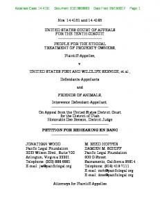 Nos and UNITED STATES COURT OF APPEALS FOR THE TENTH CIRCUIT PEOPLE FOR THE ETHICAL TREATMENT OF PROPERTY OWNERS, Plaintiff-Appellee,