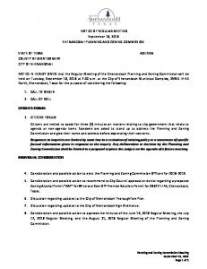 NOTICE OF REGULAR MEETING. September 18, 2018 SHENANDOAH PLANNING AND ZONING COMMISSION