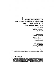 NUMERICAL TRANSFORM INVERSION AND ITS APPLICATION TO PROBABILITY MODELS