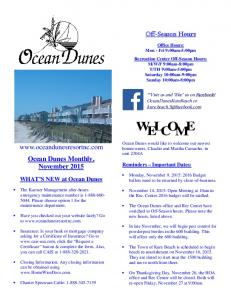 Off-Season Hours.  Ocean Dunes Monthly, November WHAT S NEW at Ocean Dunes. Reminders Important Dates: