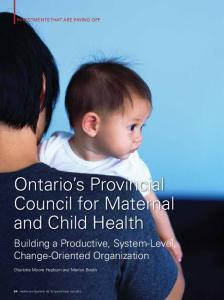 Ontario s Provincial Council for Maternal and Child Health
