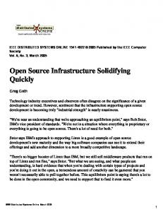 Open Source Infrastructure Solidifying Quickly