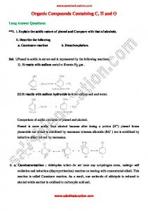 Organic Compounds Containing C, H and O