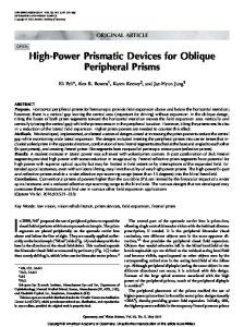 ORIGINAL ARTICLE. High-Power Prismatic Devices for Oblique Peripheral Prisms