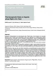 Original Article. Pharmacognostic Study on Argyreia pilosa Wight & Arn. Root. Abstract