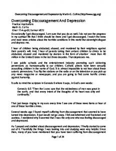 Overcoming Discouragement And Depression Practical Applications Martin G. Collins Given 17-Aug-02; Sermon #572