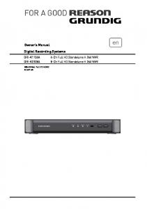 Owner's Manual Digital Recording Systems