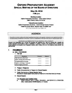 OXFORD PREPARATORY ACADEMY SPECIAL MEETING OF THE BOARD OF DIRECTORS May 26, :00 p.m