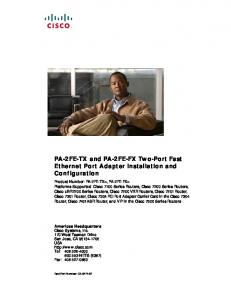 PA-2FE-TX and PA-2FE-FX Two-Port Fast Ethernet Port Adapter Installation and Configuration