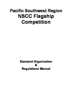 Pacific Southwest Region NSCC Flagship Competition. Standard Organization & Regulations Manual