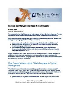 Parents as Interveners: Does it really work?