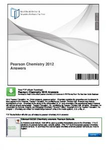 Pearson Chemistry 2012 Answers