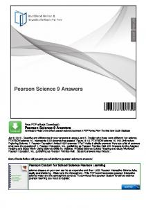 Pearson Science 9 Answers
