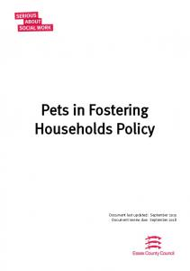 Pets in Fostering Households Policy