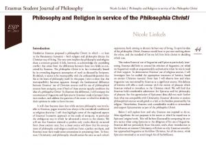 Philosophy and Religion in service of the Philosophia Christi