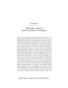 Philosophy, Literature, and the Accidents of Translation