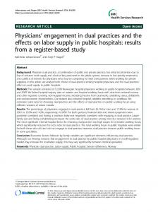 Physicians engagement in dual practices and the effects on labor supply in public hospitals: results from a register-based study
