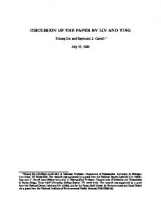 Professors Lin and Ying are to be congratulated for an interesting paper on a challenging topic and for introducing survival analysis techniques to th