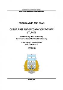 PROGRAMME AND PLAN OF THE FIRST AND SECOND CYCLE DEGREE STUDIES