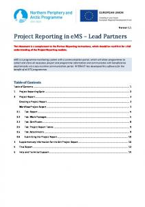 Project Reporting in ems Lead Partners