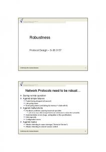 Protocol Design S Network Protocols need to be robust