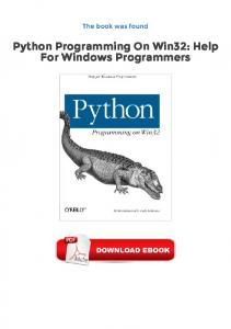 Python Programming On Win32: Help For Windows Programmers Epub Gratuit